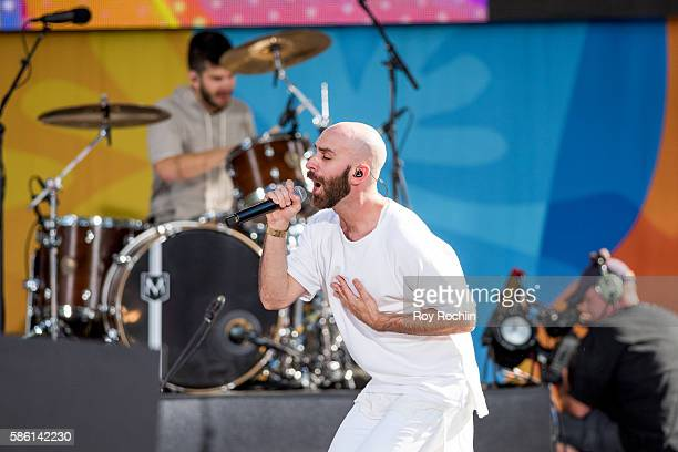 Vocalist Sam Harris on stage as X Ambassadors Perform On ABC's Good Morning America at SummerStage at Rumsey Playfield Central Park on August 5 2016...