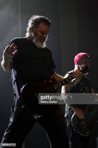 Vocalist Scott Kelly and bassist Dave Edwardson of Neurosis perform at UC Theatre on July 10 2018 in Berkeley California