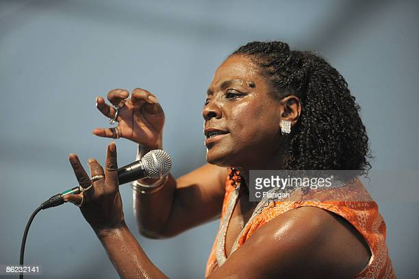 Vocalist Sharon Jones performs during day 3 of the 2009 New Orleans Jazz & Heritage Festival Presented by Shell at the New Orleans Fairgrounds and...