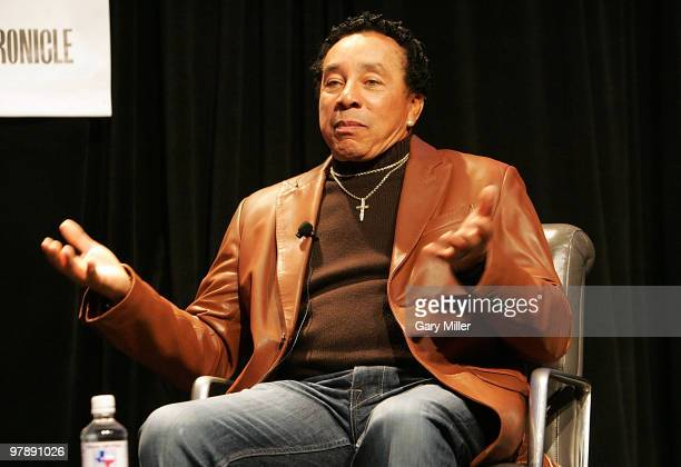 Vocalist Smokey Robinson gives the keynote address for the South By Southwest Msic Festival at the Austin Convention Center on March 18 2010 in...