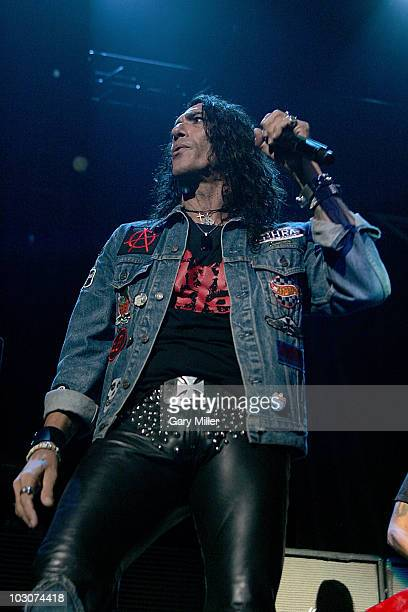 Vocalist Stephen Pearcy performs in concert with Ratt at the ATT Center on July 23 2010 in San Antonio Texas