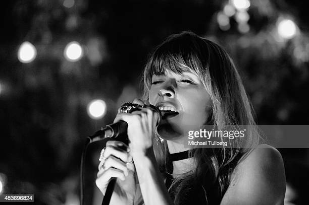 Vocalist Stevie Scott of machineheart performs at SkyBar at the Mondrian Los Angeles on August 11 2015 in West Hollywood California