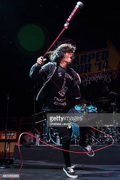 Vocalist Taka of One OK Rock performs at the 2014 Vans Warped Tour press conference and kickoff party on April 1 2014 in Los Angeles California