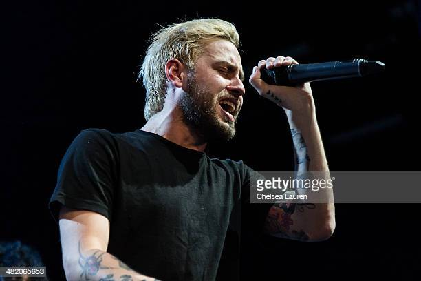 Vocalist Tyler Carter of Issues performs at the 2014 Vans Warped Tour press conference and kickoff party on April 1 2014 in Los Angeles California