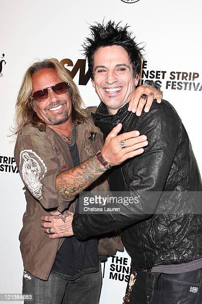 Vocalist Vince Neil and drummer Tommy Lee of Motley Crue arrive at the 4th Annual Sunset Music Festival Motley Crue Tribute at House of Blues Sunset...