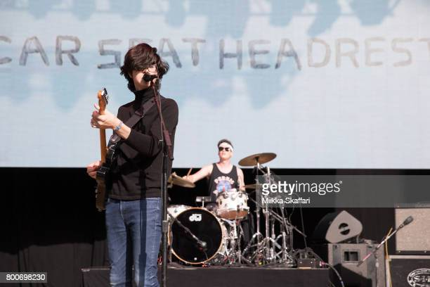 Vocalist Will Toledo and drummer Andrew Katz of Car Seat Headrest perform at ID10T festival at Shoreline Amphitheatre on June 24 2017 in Mountain...