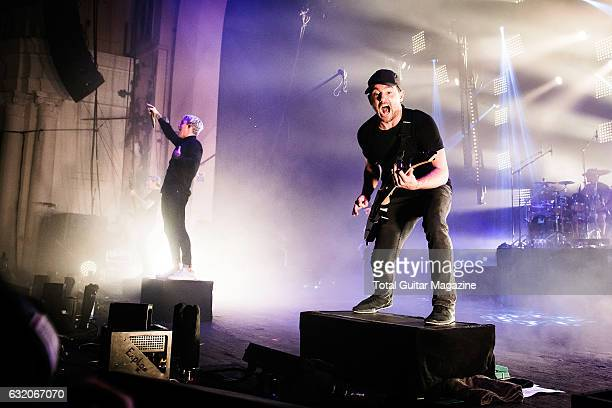 Vocalist Winston McCall and guitarist Jeff Ling of Australian metalcore group Parkway Drive performing live on stage at the O2 Academy Brixton in...