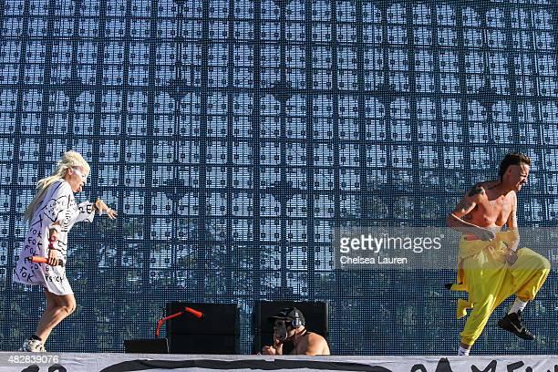 Vocalist Yolandi Visser DJ HiTek and vocalist Ninja of Die Antwoord perform during Hard Summer Music Festival at Fairplex on August 2 2015 in Pomona...