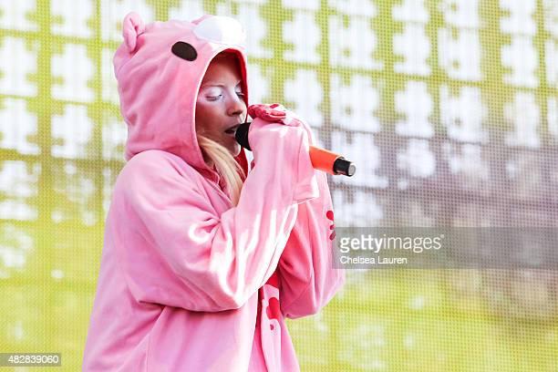 Vocalist Yolandi Visser of Die Antwoord performs during Hard Summer Music Festival at Fairplex on August 2 2015 in Pomona California