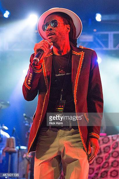 Vocalist Zeebo Steele of SeeI performs on stage with Thievery Corporation at Stubb's BarBQ on April 29 2014 in Austin Texas