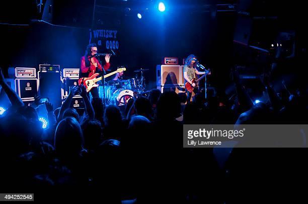 Vocalist/bassist Glenn Hughes drummer Jason Bonham and guitarist/singer/songwriter Andrew Watt of California Breed perform at The Whiskey A Go Go on...