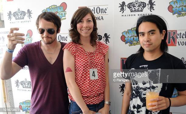 Vocalist/Guitarist Brian Aubert Bassist Nikki Monninger and Drummer Christopher Guanlao of Silversun Pickups attend the 2010 KROQ Weenie Roast at...