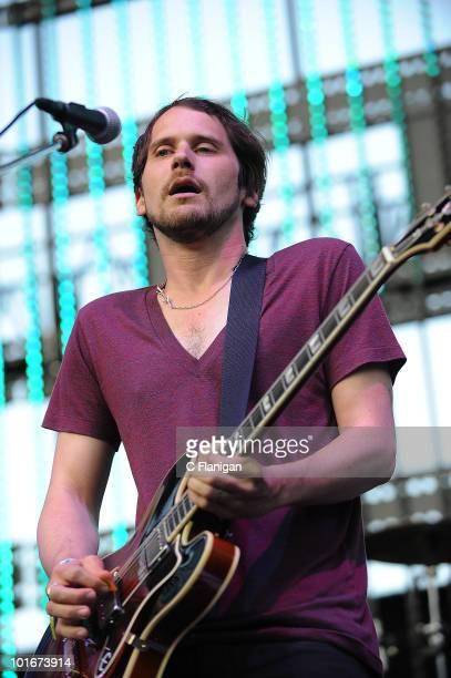 Vocalist/Guitarist Brian Aubert of Silversun Pickups performs during the 2010 KROQ Weenie Roast at Verizon Wireless Amphitheatre on June 5 2010 in...