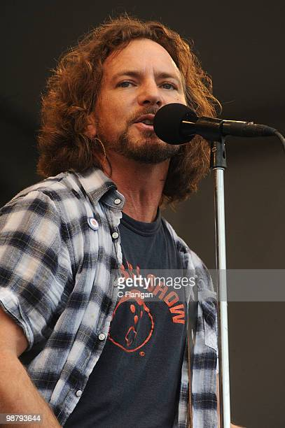 Vocalist/Guitarist Eddie Vedder of Pearl Jam performs during the 41st Annual New Orleans Jazz Heritage Festival Presented by Shell at the Fair...
