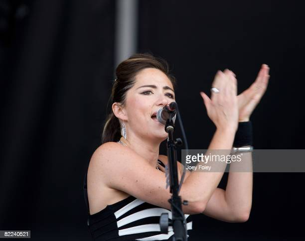Vocalist/Guitarist KT Tunstall performs during the 2008 Virgin Mobile Festival at Pimlico Race Course on August 9 2008 in Baltimore Maryland