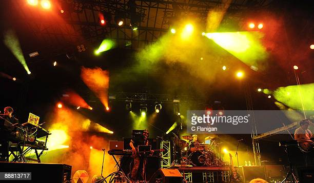 Vocalist/Keyboardist Aaron Magner Bassist Marc Brownstein Drummer Allen Aucion and Jon Gutwillig of The Disco Biscuits perform during Day 1 of the...