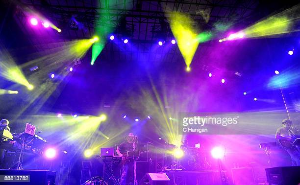 Vocalist/Keyboardist Aaron Magner Bassist Marc Brownstein Drummer Allen Aucoin and Jon Gutwillig of The Disco Biscuits perform during Day 1 of the...