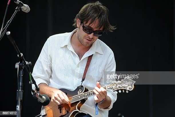 Vocalist/Mandolinist Jeff Austin of the Yonder Mountain String Band performs during Day 4 of the 2009 Rothbury Music Festival on July 5 2009 in...