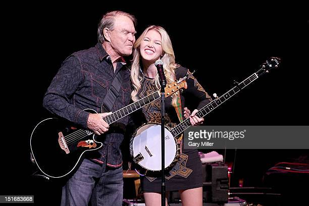 Vocalist/musician Glen Campbell and his daughter Ashley Campbell perform in concert at the Long Center on September 9 2012 in Austin Texas