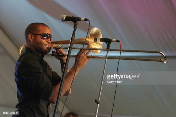 Vocalist/musician Trombone Shorty performs in concert during day 3 of the Austin City Limits Music Festival at Zilker Park on October 10, 2010 in...