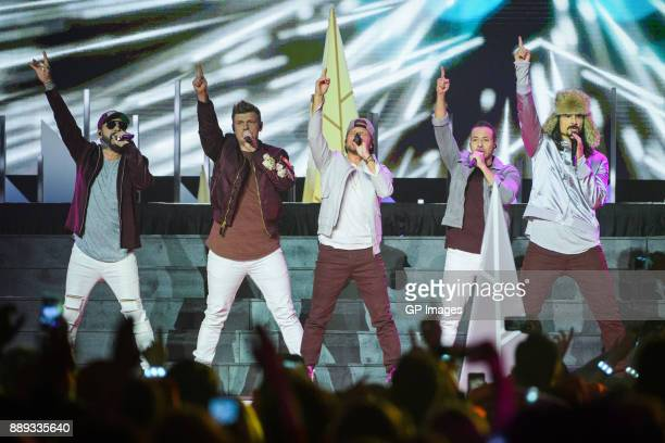Vocalists AJ McLean Nick Carter Brian Littrell Howie Dorough and Kevin Richardson of the Backstreet Boys perform on stage during the 2017 iHeartRadio...