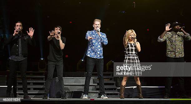 Vocalists Avi Kaplan Mitch Grassi Scott Hoying Kirstie Maldonado and Kevin Olusola of Pentatonix perform in concert as part of the San Antonio Stock...