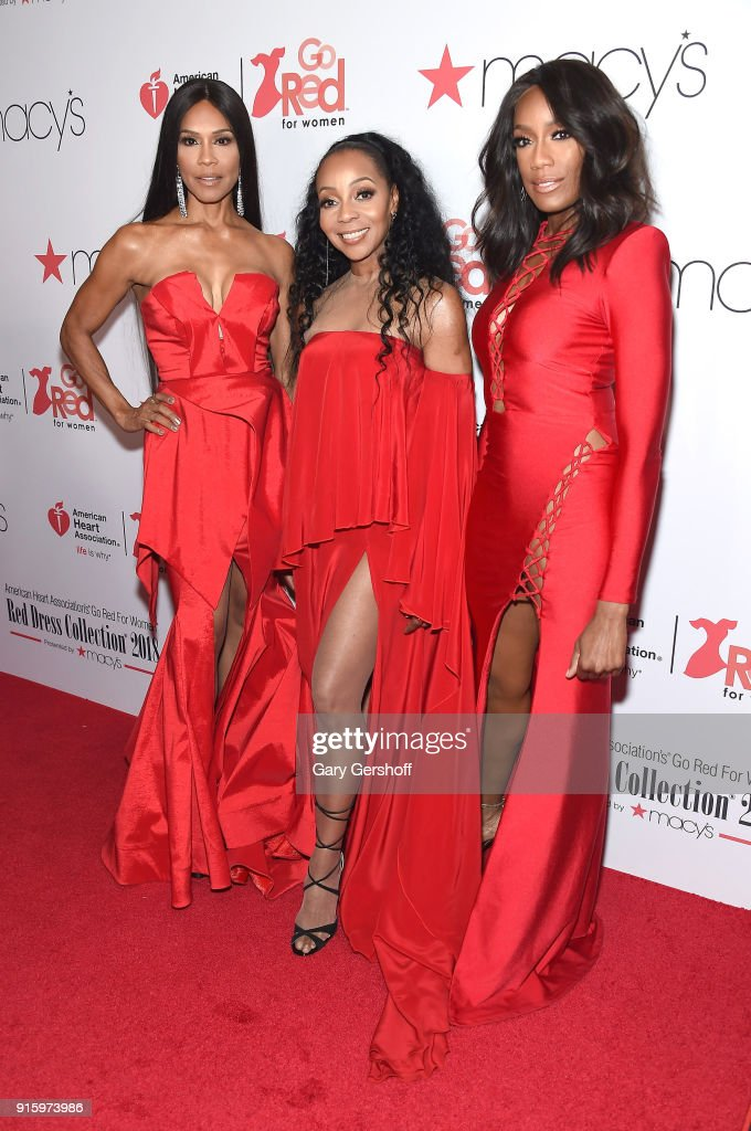 Vocalists Cindy Herron-Braggs, Terry Ellis and Rhona Bennett of En Vogue attend the Red Dress / Go Red For Women Fashion Show at Hammerstein Ballroom on February 8, 2018 in New York City.
