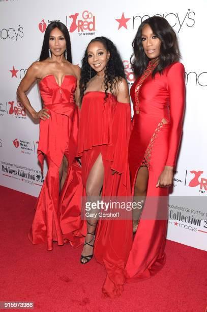 Vocalists Cindy HerronBraggs Terry Ellis and Rhona Bennett of En Vogue attend the Red Dress / Go Red For Women Fashion Show at Hammerstein Ballroom...