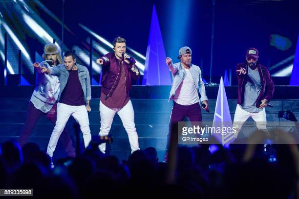 Vocalists Kevin Richardson Howie Dorough Nick Carter Brian Littrell and AJ McLean of the Backstreet Boys performs on stage during the 2017...