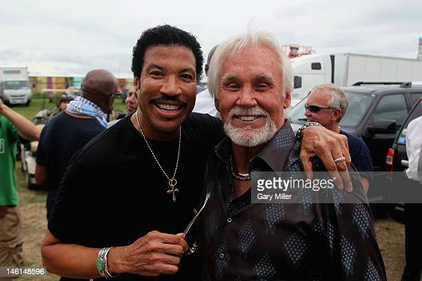 Vocalists Lionel Richie and Kenny Rogers are seen here backstage during the 2012 Bonnaroo Music and Arts Festival on June 10 2012 in Manchester...