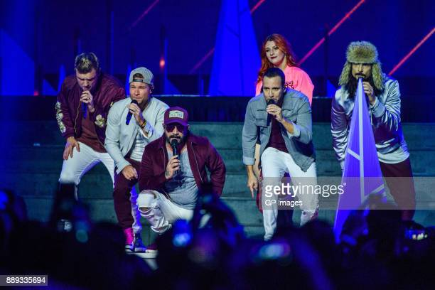 Vocalists Nick Carter Brian Littrell AJ McLean Howie Dorough and Kevin Richardson of the Backstreet Boys performs on stage during the 2017...