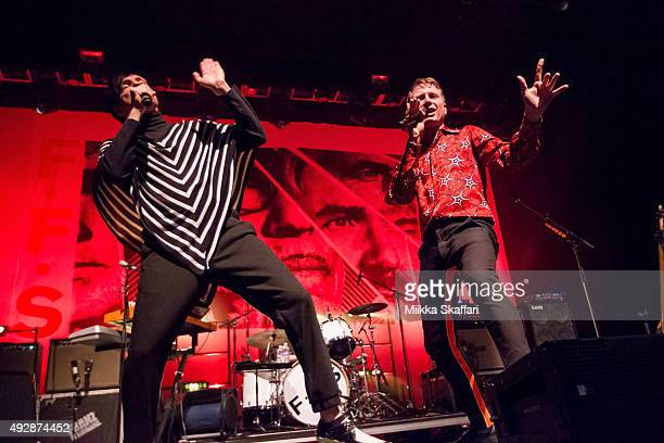 Vocalists Russell Mael and Alex Kapranos and keyboardist Ron Mael of FFS perform at Fox Theater on October 15 2015 in Oakland California