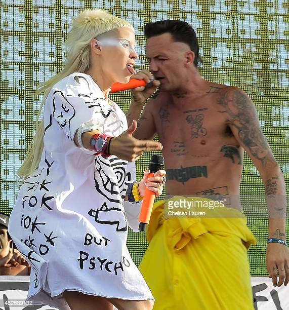 Vocalists Yolandi Visser and Ninja of Die Antwoord perform during Hard Summer Music Festival at Fairplex on August 2 2015 in Pomona California