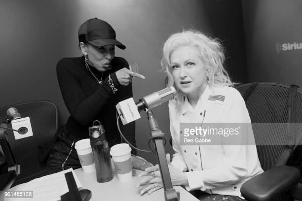 Image has been converted to black and white Color version not available NEW YORK NY MAY 22 Vocalist/SiriusXM host Nona Hendryx and singer Cyndi...