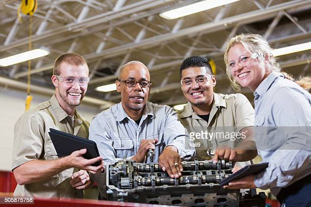 Vocational class, learning to repair gasoline engine