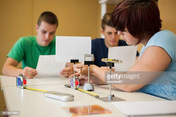Vocational school students in physics class