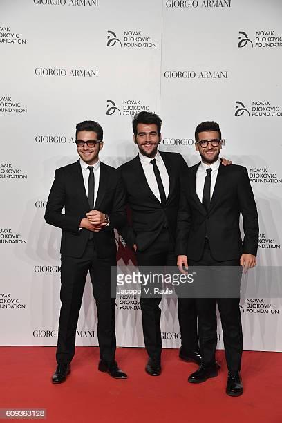 Voclals Band il Volo attend the Milano Gala Dinner benefitting the Novak Djokovic Foundation presented by Giorgio Armani at Castello Sforzesco on...
