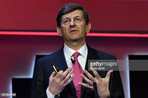 Vodafone CEO Vittorio Colao gives a press conference on the first day of the Mobile World Congress on February 26 2018 in Barcelona The Mobile World...