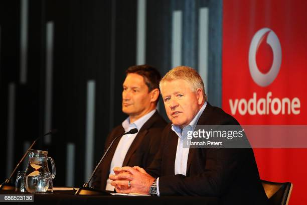 Vodafone Chief Executive Russell Stanners and New Zealand Rugby CEO Steve Tew speak during a New Zealand All Blacks sponsorship Announcement at Eden...