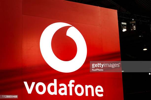 Vodafone logo exhibited during the Mobile World Congress, on February 28, 2019 in Barcelona, Spain.