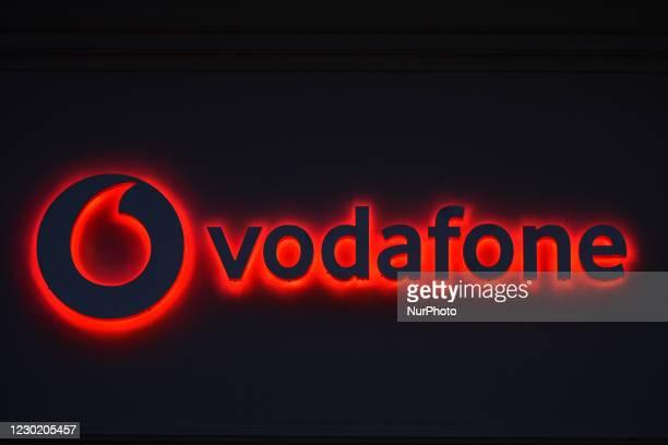 Vodafone logo seen in Dublin city center. On Friday, December 18 in Dublin, Ireland.