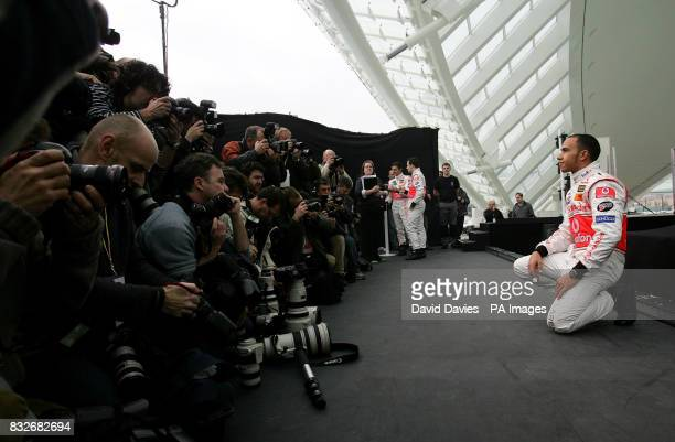Vodafone McLaren Mercedes driver Lewis Hamilton of Great Britain poses for photographers during the photocall of the 2007 Vodafone McLaren Mercedes...