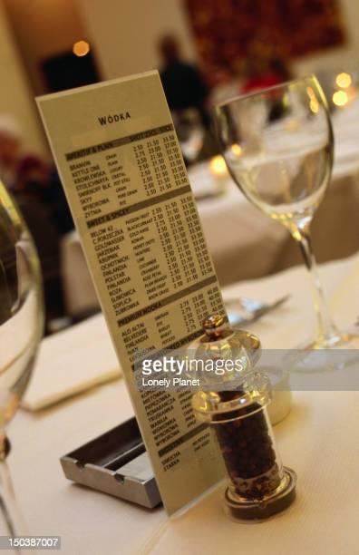 Vodka menu at Baltic restaurant.