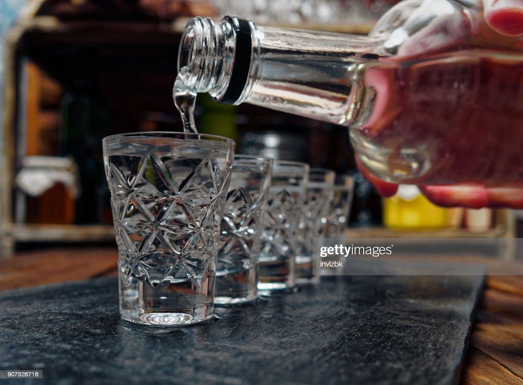 Vodka shots : Stock Photo