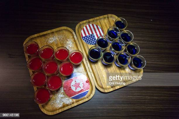 Vodka shots prepared by a local bistro bar Escobar for a special 'Trump vs Kim' challenge on June 2 2018 in Singapore US President Donald Trump...