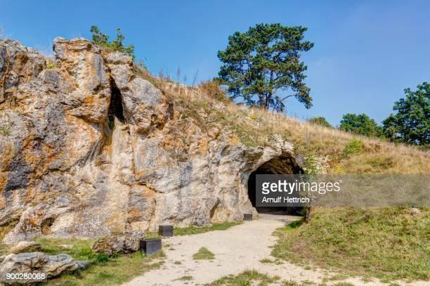 vogelherd cave, ice age cave with stone age finds, mammoth ivory, niederstotzigen, lonetal, baden-wuerttemberg, germany - steinzeit stock-fotos und bilder