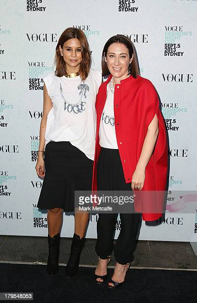 Vogue Australia editorinchief Edwina McCann and Christine Centenera arrive for the launch of Vogue Fashion's Night Out at Hyde Park on September 5...