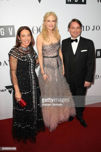 Vogue Australia EditorinChief Edwina McCann Nicole Kidman and NGV Director Tony Ellwood arrive ahead of the NGV Gala at NGV International on August...