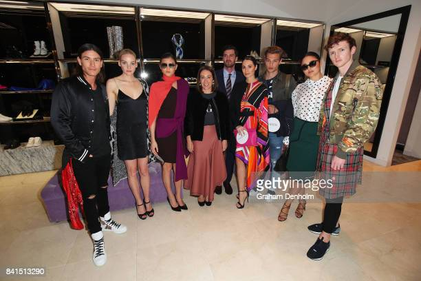 Vogue Australia EditorinChief Edwina McCann poses with models at Harrolds Boutique as part of Vogue American Express Fashion's Night Out 2017 on...