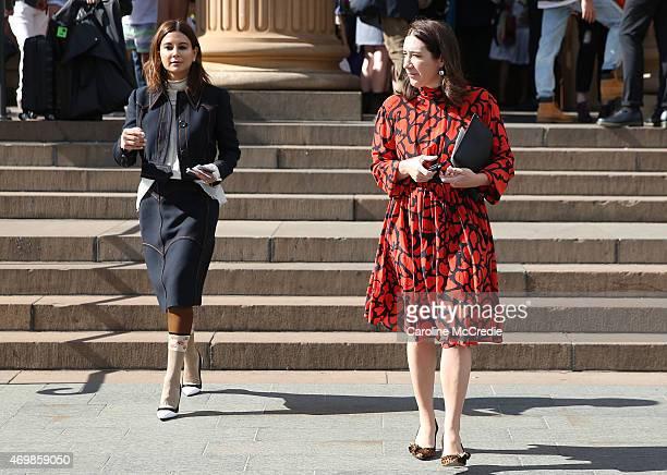 Vogue Australia stylist Christine Centenera and Vogue Australia Editor Edwina McCann attend MercedesBenz Fashion Week Australia 2015 at the Art...